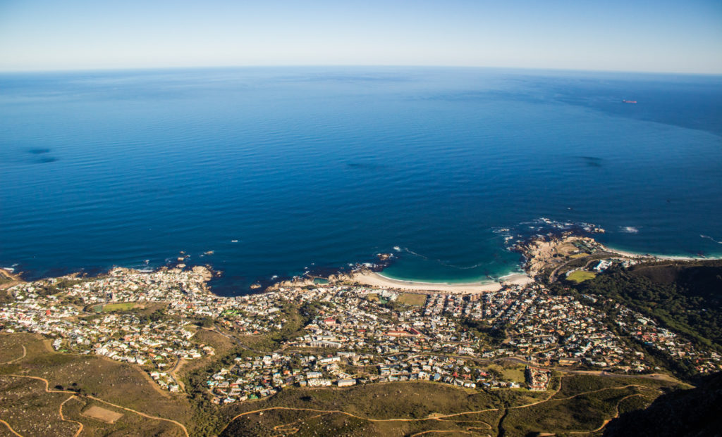 aerial view of camps bay beach