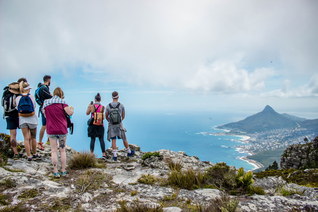 table mountain hike overlooking lion's head and camps bay