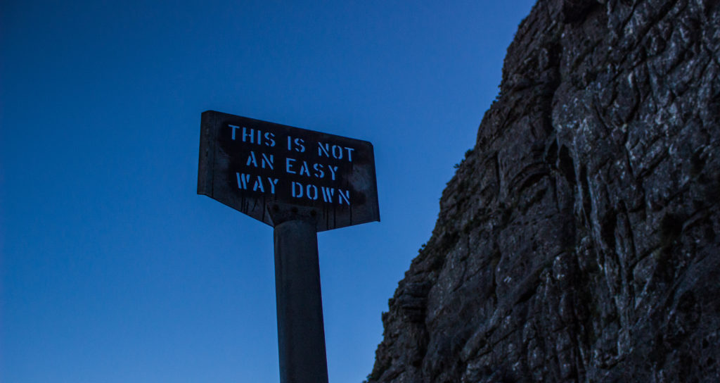 warning sign on table mountain